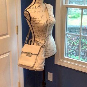 Michael Kors cream color cross body leather bag